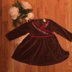 Brown Velvet Longsleeved dress with florals